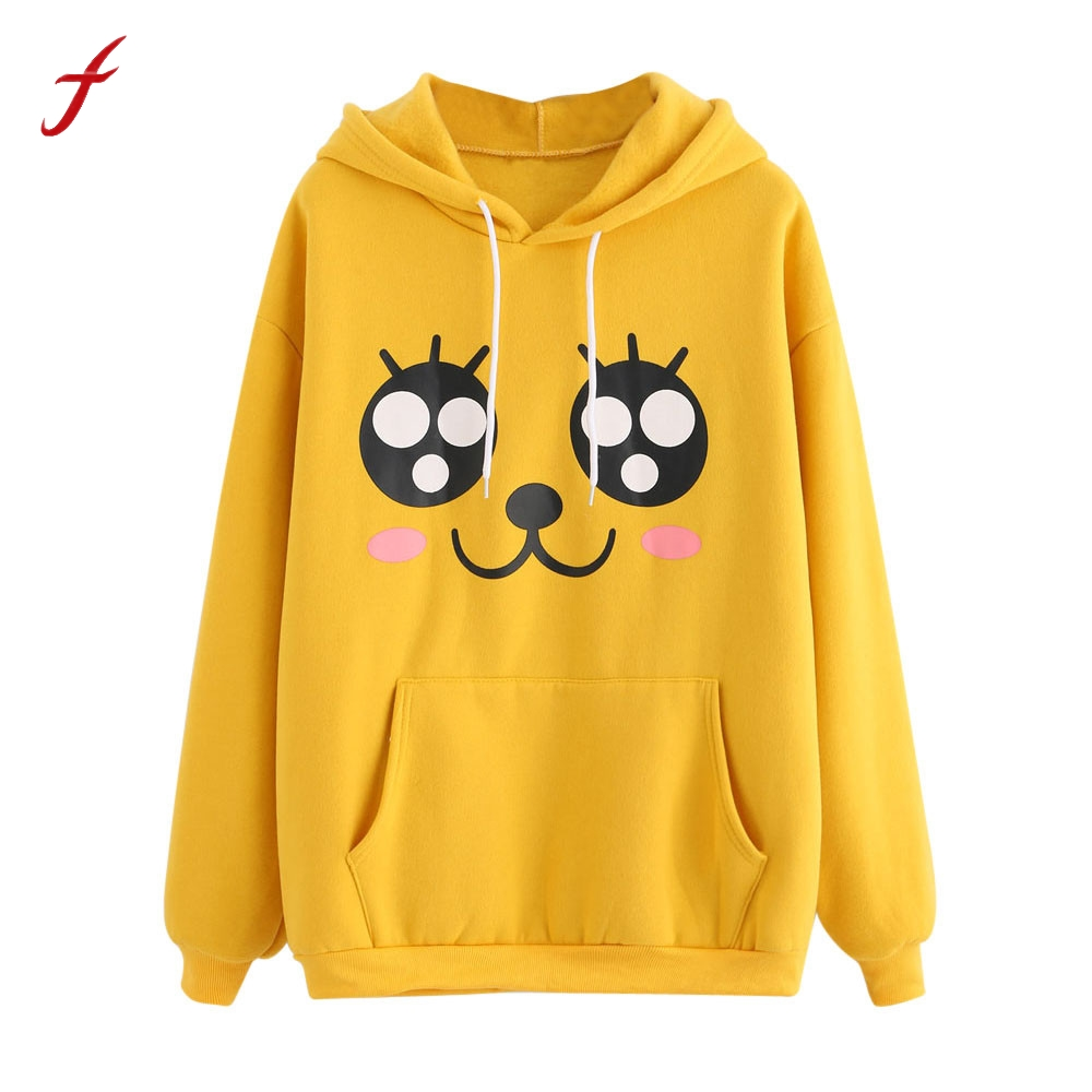 Womens Printing Long Sleeve Cotton Hoodie Sweatshirt Printing Long Hooded Pullover Tops Blouse 2017 Winnter harajuku Hoodies
