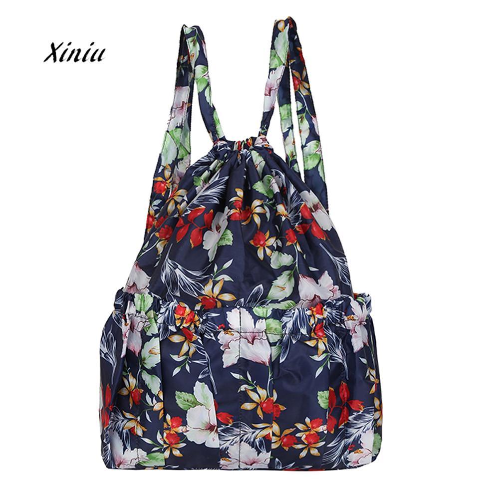 2018 New Fahsion Women Shoulder Bags Neutral Casual Drawstring Bag Flower Printed Backpack Travel Shoulder Bags School Bag