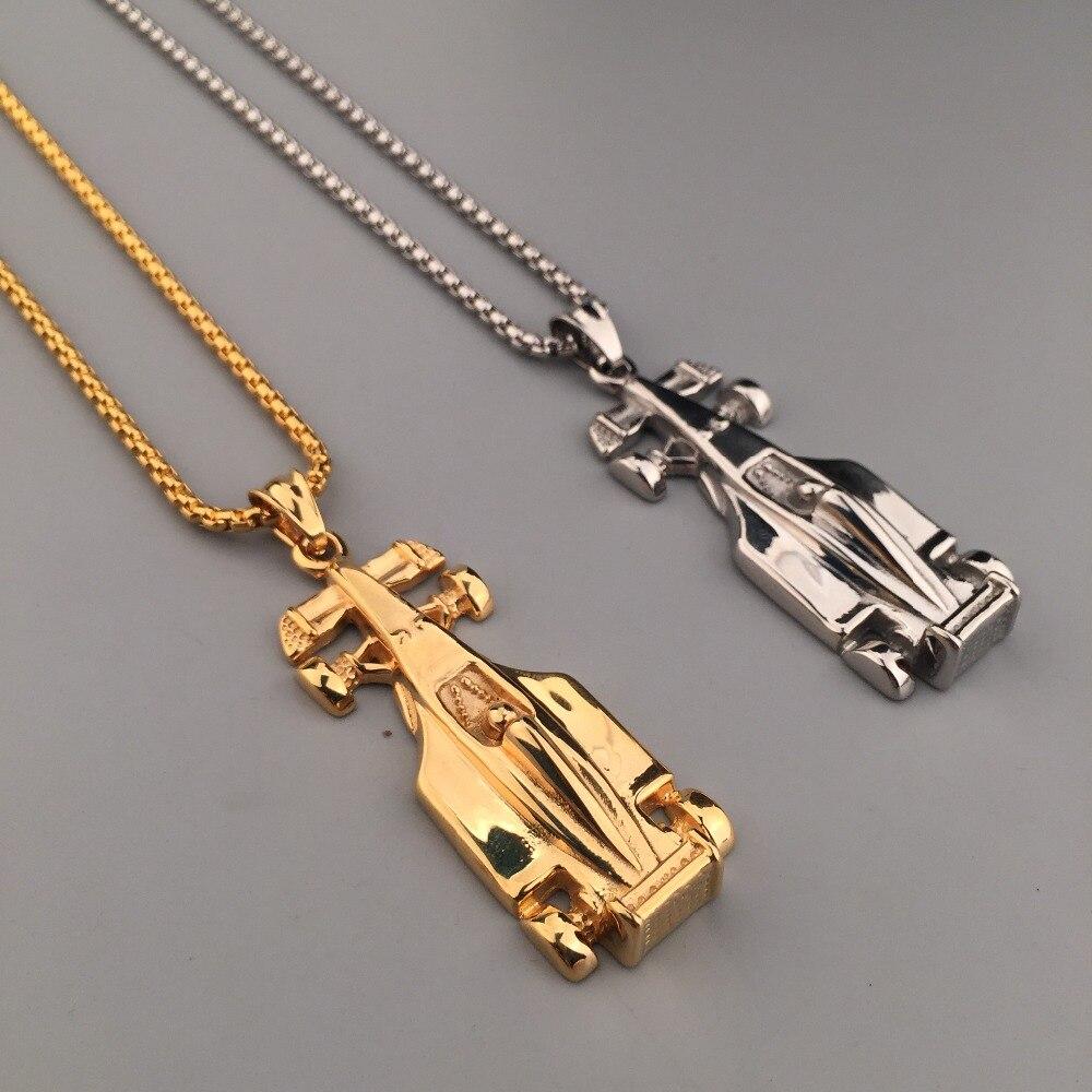 Fashion F1 FORMULA ONE Motor Racing Car Pendant Hip Hop 70cm Boxing Link Chain Titanium Steel Mens Jewelry Gift