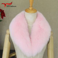 2018 New Long Real Fox Fur Collar Scarf Women & Men Spring Winter Warm Solid Coat Coat Shawls Lining 75cm