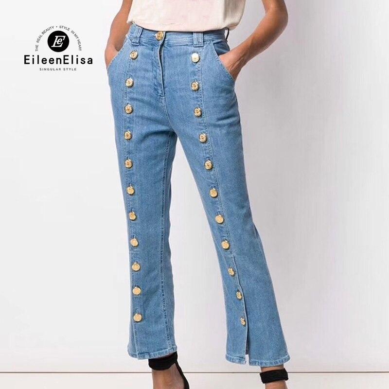2019 femmes marque Denim pantalon femmes taille haute bleu pantalon mode bouton femme pantalon