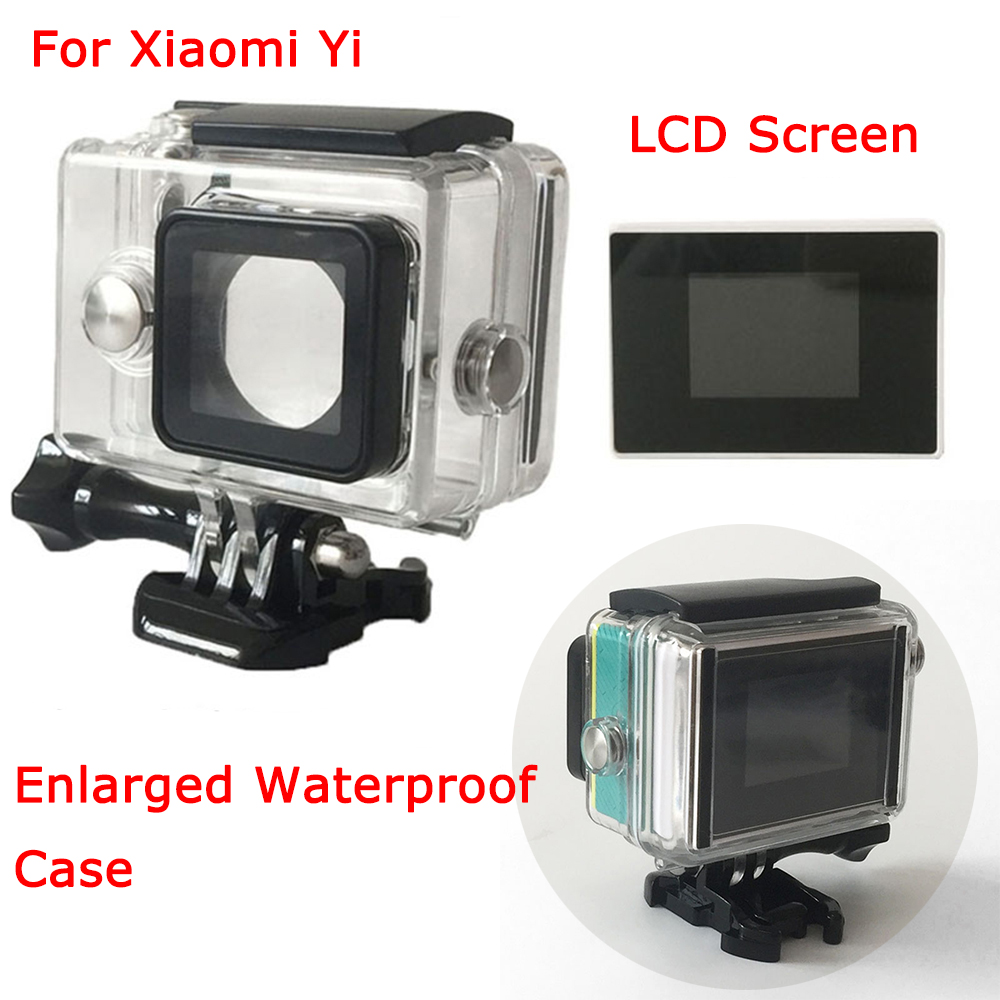 For Xiaomi yi Camera Xiaoyi External Bacpac LCD 1.5 Inch LCD Display Screen+Enlarged Waterproof Case Diving Box for Xiao Mi Yi