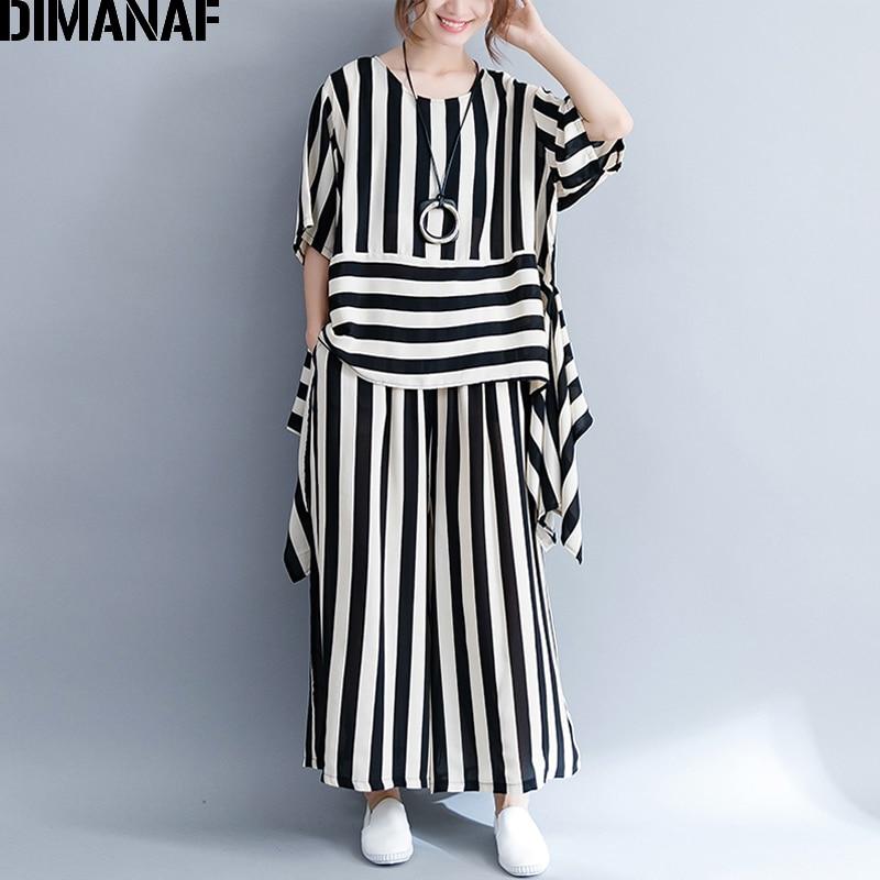 DIMANAF Women's Sets Plus Size Summer Femme Elegant Office Lady Clothing Top Pants Loose Print Striped Black White 2 pieces Set