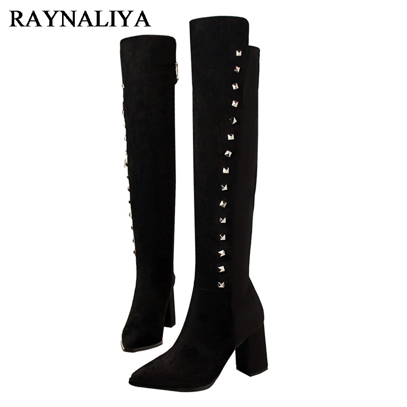 цены Riding Boots Designer Luxury Brand Rivets Shoes Woman Thigh High Boots Women Over The Knee Boots Sexy High Heels DS-A0078