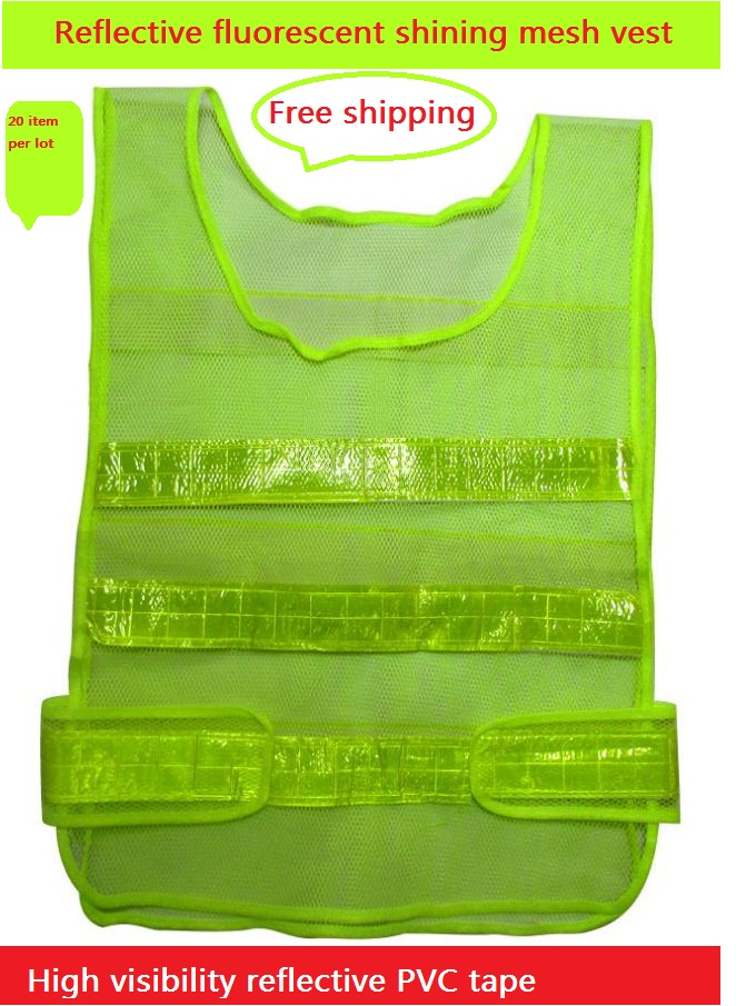 Fluorescent green reflective warning vest high visibility highways sanitation reflective safety vests made in China
