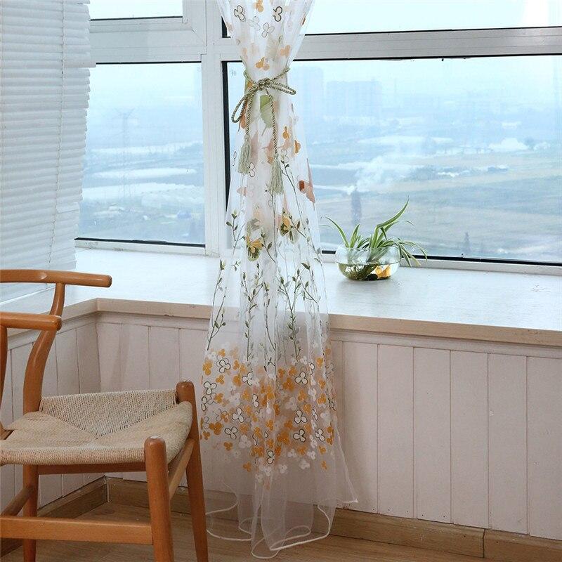 2020 1 pçs ramos de borboleta impresso tule cortinas para sala estar interior janela triagem decoração varanda burnout voile cortina