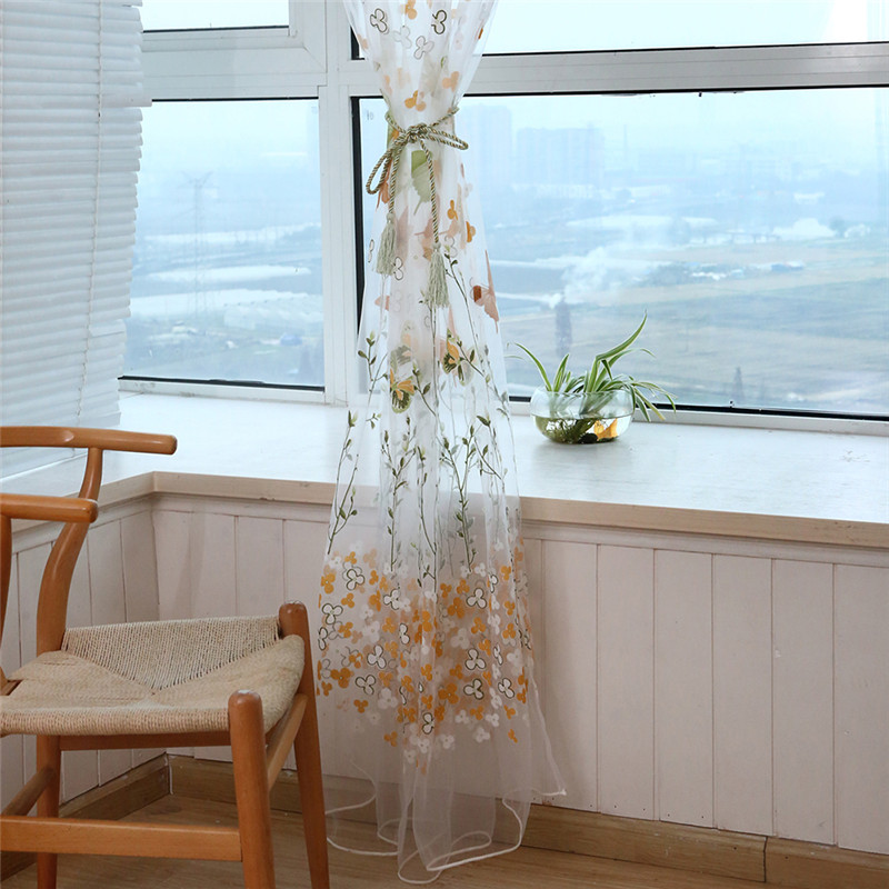 2017 1pcs butterfly branches printed tulle curtains for for Balcony curtains