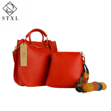 STXL 2pcs Handbag Small Composite PU Top-Handle Bags Leather Women's Handbags red Messenger bag STXLB001