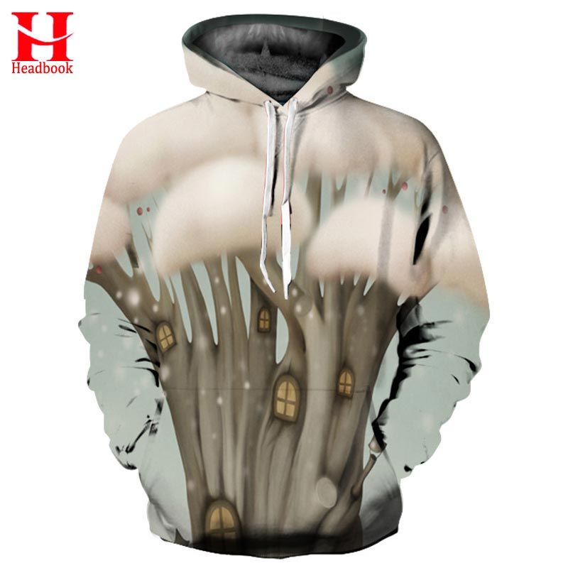 2017 Headbook Harajuku Hoodies Men Women Unisex Hooded Sweatshirts Print Warm Mushrooms House Hip Hop Hoody Pullovers