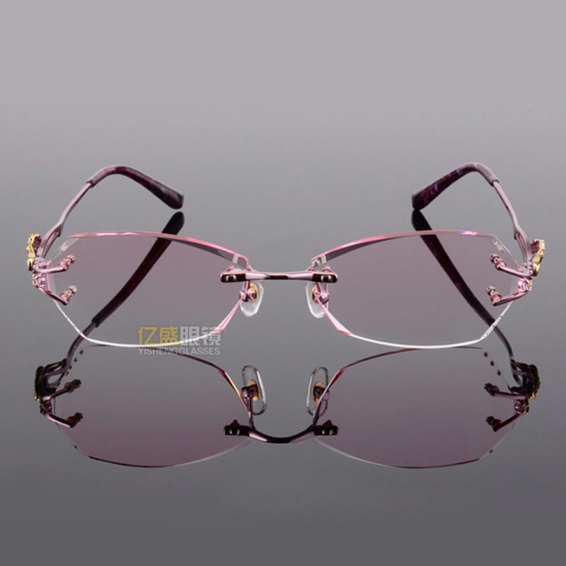 baab717433 Titanium Eyeglasses Rimless Women Luxury Diamonds Design High Clear Lenses  Myopia Glasses Computer Ladies Reading Glasses 618