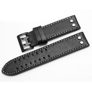 Image 4 - PEIYI עור רצועת להקת רוחב 20mm 22mm זוגי שורה חור עור חגורת שעון שעון אביזרי להחליף עבור המילטון