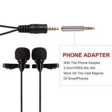 Петличный Микрофон Петличка двойная Конденсаторный Микрофон для интервью для Android iPhone или Таблетки