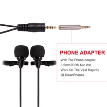 UlanzI Dual-Headed Lavalier Lapel Clip-on Omnidirectional Condenser Microphone for Interview Conference for iPhone Android PC