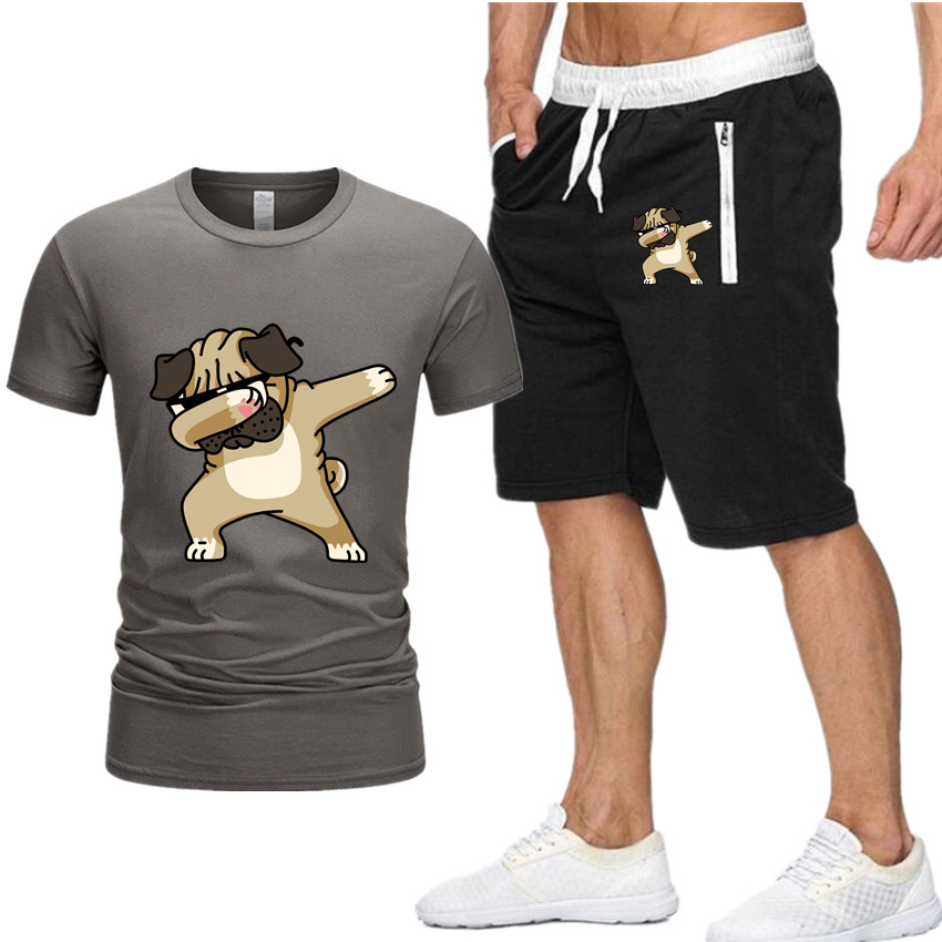 New Brand 2piece Mens T-Shirts+Shorts Summer Animal Dog Short Sleeve print T Shirts casual Tee Shirts Male T shirt Homme S-XXL(China)