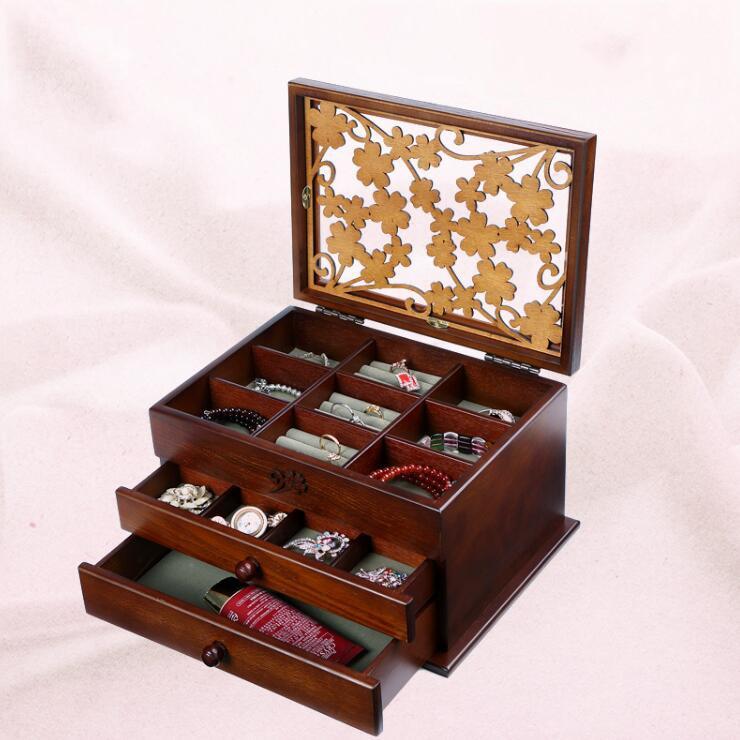2017 Limited Organizador The Annual Spring Wooden Jewelry Box Size Doug Wood Retro Princess Desktop Storage Boxes case gift makeup organizer box