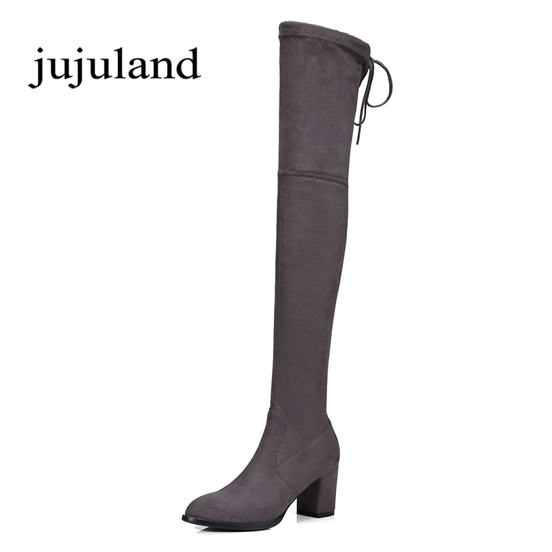 Women Shoes Long Boots Over-the-Knee Boots Flock Nubuck Slip-On Pointed Toe High Square Heels Big Size Lycra Cross-tied Solid lady glitter high fashion designer brand bow soft flock plus size 43 leisure pointed toe flats square heels single shoes slip on