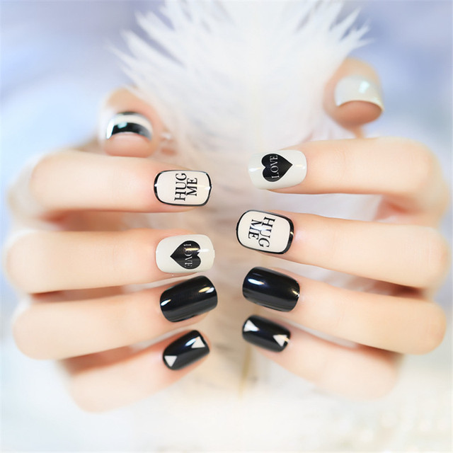 2017 summer style cute nail art candy false nails heart love 24 2017 summer style cute nail art candy false nails heart love 24 pcs oval full acrylic prinsesfo Image collections