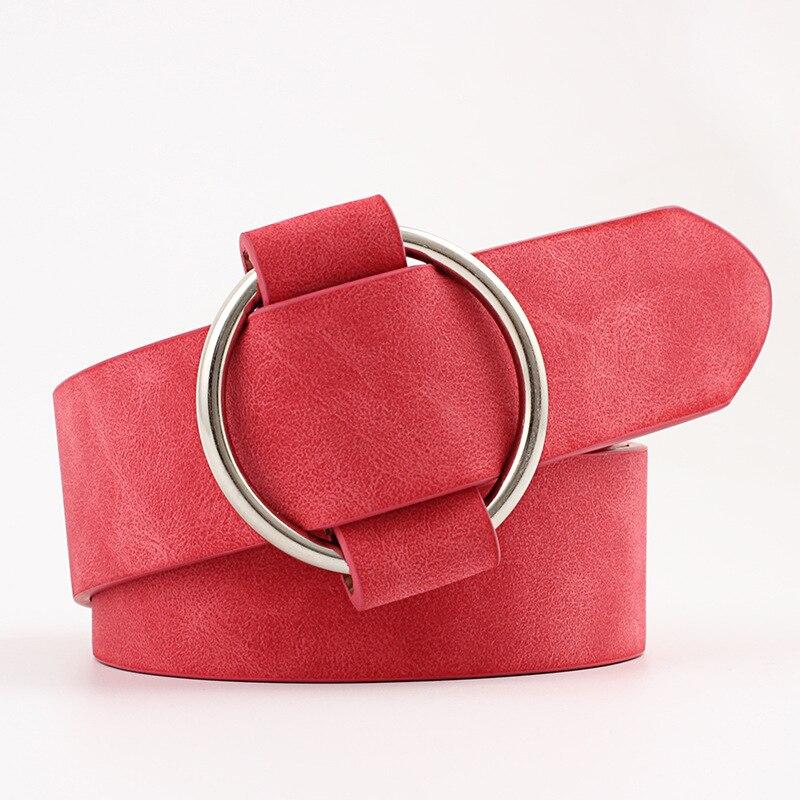 Модный классический круглый ремень с пряжкой, Женский широкий ремень, дизайн, высокое качество, Женские повседневные кожаные ремни для джинсов kemer - Цвет: Style 2 Red