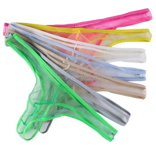 8PCS Men Mesh Thongs Sexy Gay Underwear Multi Colors See Through Male G string Transparent String Jockstrap Gay Underwear T-back