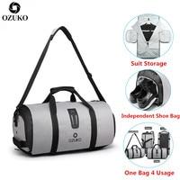 OZUKO Men Travel Bag Multifunction Large Capacity Waterproof Duffle Bag Suit Storage Hand Luggage Bags Shoe warehouse Fitness