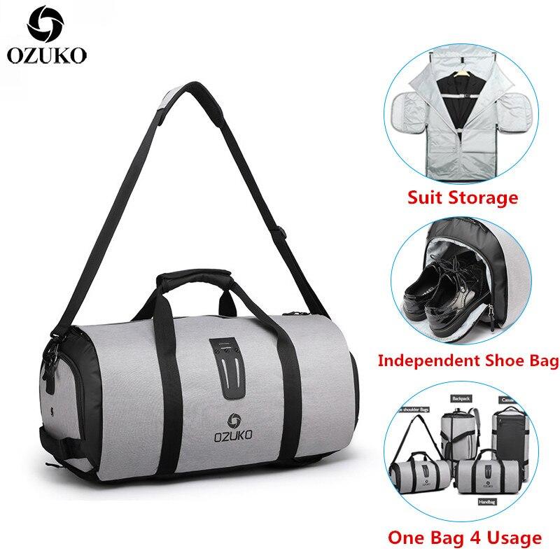 OZUKO mężczyźni torba podróżna wielofunkcyjny duża pojemność wodoodporna Duffle torba do przechowywania ręcznie torby bagażowe buty magazyn Fitness w Torby podróżne od Bagaże i torby na  Grupa 1