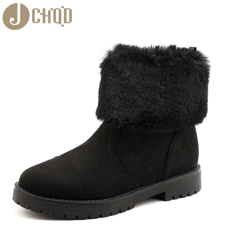 JCHQD 2019 European Style Boots Women High Quality Shoes Women Short plush snowboots with warm interior European sizes 36-42 37