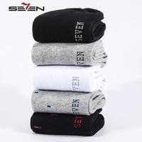 Seven7 Brand New Cool Casual Male Socks Men 100 Cotton Business Dress Mens Crew Socks Black