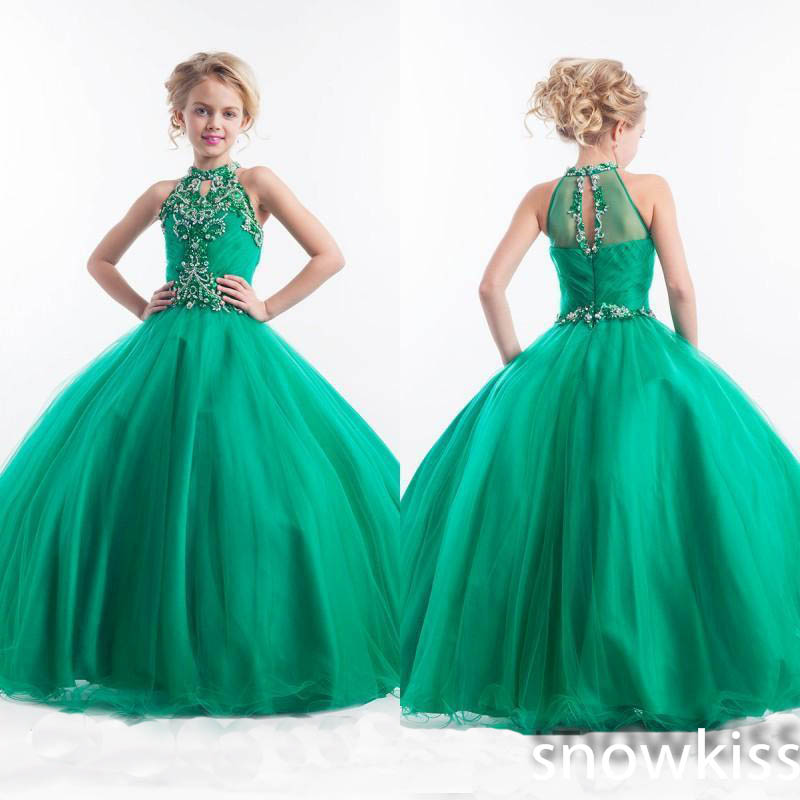 New arrival emerald green long glitz beading crystals pageant dresses for girls elegant juniors prom evening tulle ball gowns