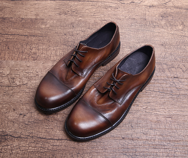 Zapatos de vestir para hombre de alta calidad zapatos planos de oficina de negocios formales de cuero genuino con punta cuadrada para hombre