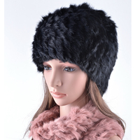 High Quality Winter Hats For Women Real Rabbit Fur Scarf Hat Knitting Wool Girls Beanies Casual