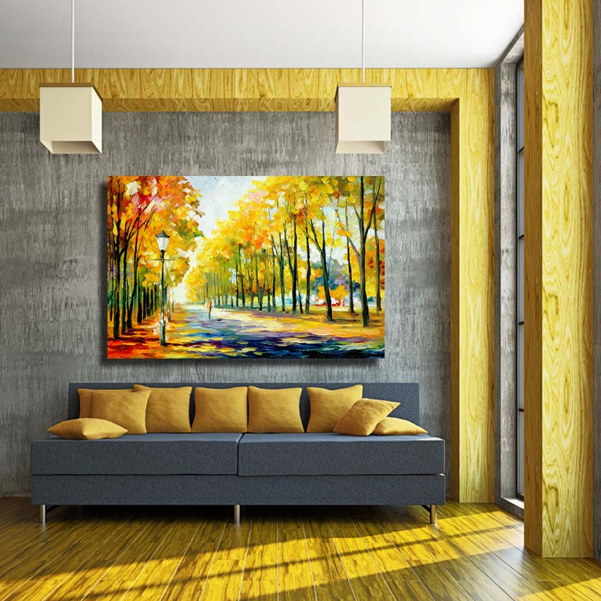 Large wall paintings hand painted knife canvas oil painting pathway ...