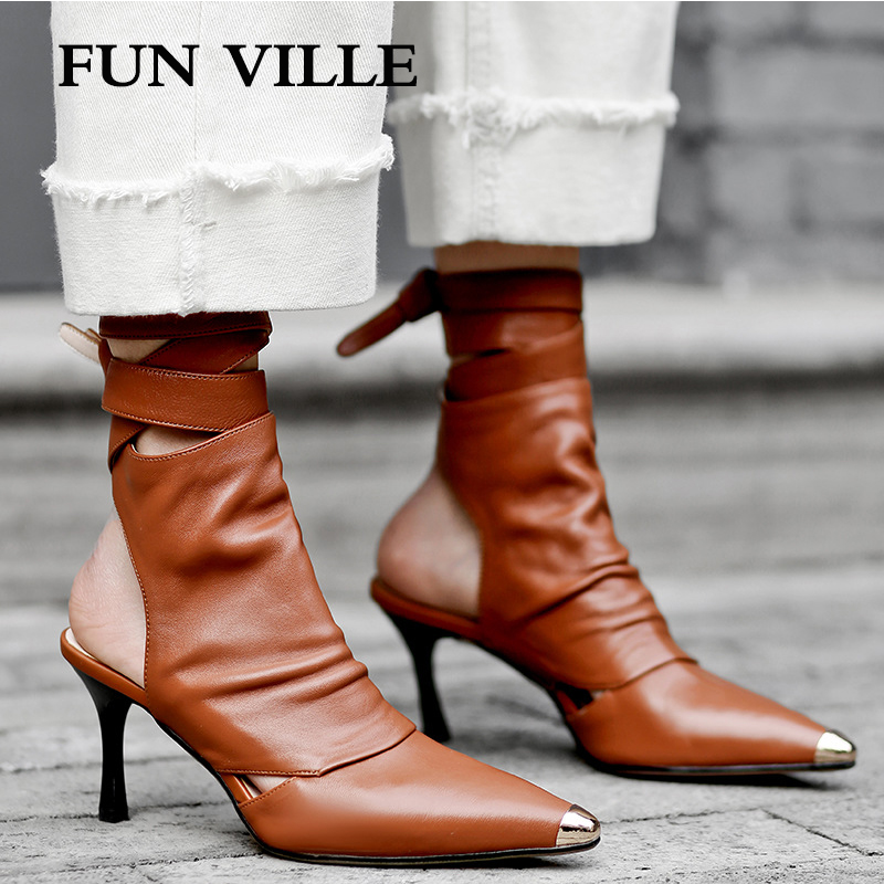 FUN VILLE New Fashion Spring Summer Boots Women Ankle Boots Genuine Leather Sheepskin boots Pointed toe