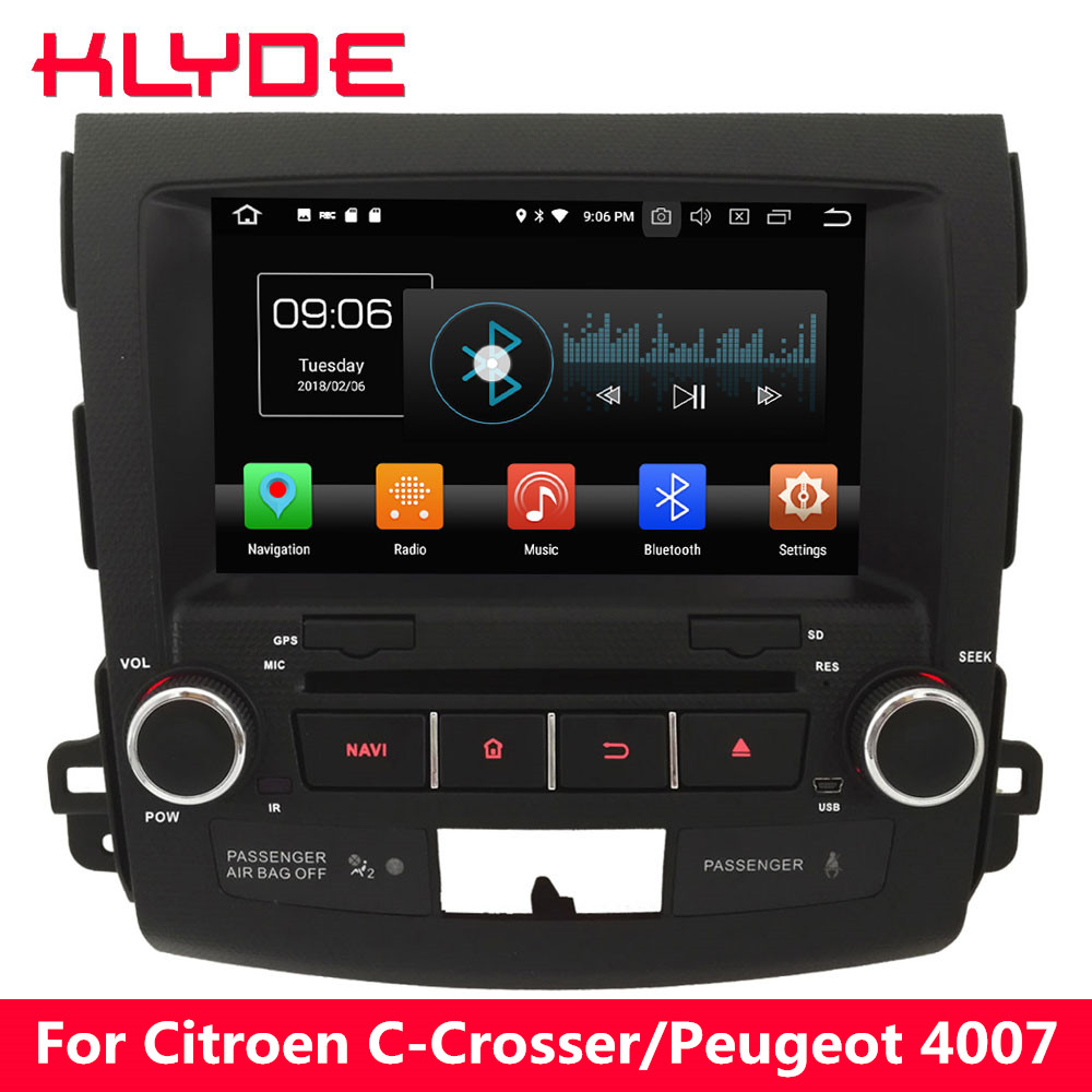 KLYDE 4G Android 8 Octa Core 4GB RAM Car DVD Multimedia Player For Peugeot 4007/Citroen C-Crosser 2007 2008 2009 2010 2011 2012