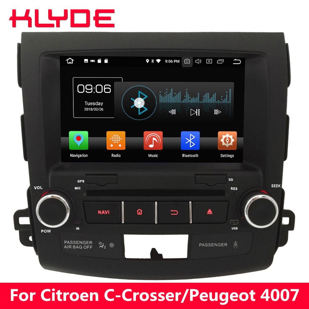 KLYDE 4G Android 8 Octa Core 4GB RAM Car DVD Multimedia Player For Peugeot 4007/Citroen C-Crosser 2007 2008 2009 2010 2011 2012 цена