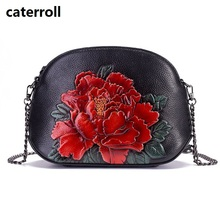 floral women shoulder bag genuine leather crossbody bag small luxury handbags women bags designer brand handbag