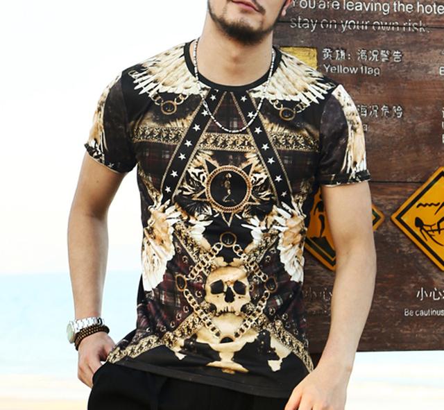 Camisa dos homens t Barroco impresso t-shirt camisa de t dos homens 3d verão novidade 3D Crânio Casual Manga Curta O-neck camisetas roupas