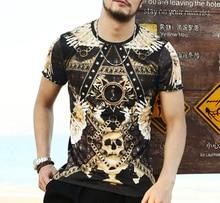 Мужчины майка Барокко печатных футболку 3d мужская футболка лето новинка 3D Череп Повседневная Коротким Рукавом О-Образным Вырезом футболки одежда
