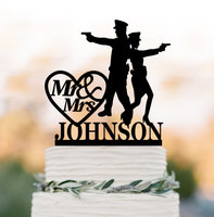 Police Bride And Groom Wedding Cake Toppers Letter Police Wedding Cake Decor With Custom Name And