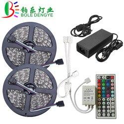 СВЕТОДИОДНАЯ лента SMD 5050 RGB Светодиодная лента 12 в 30 светодиодов/м водонепроницаемая гибкая ленточная лента + контроллер RGB + адаптер питания ...