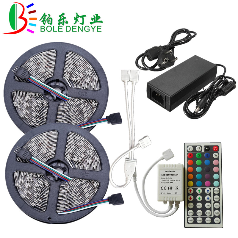 LED Strip Light SMD 5050 RGB LED Strip 12V 30leds/m Waterproof Flexible Tape Ribbon String+RGB LED Controller+12V Power Adapter 15m led strip set rgb waterproof smd 5050 led strip tape light 450leds wifi 24key controller 12v 6a power adapter diy color