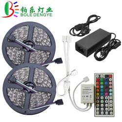 Luz de Tira CONDUZIDA SMD 5050 RGB LED Strip 12 V 30 leds/m Flexível À Prova D' Água Fita Fita Corda + RGB LED Controlador + 12 V Power Adapter