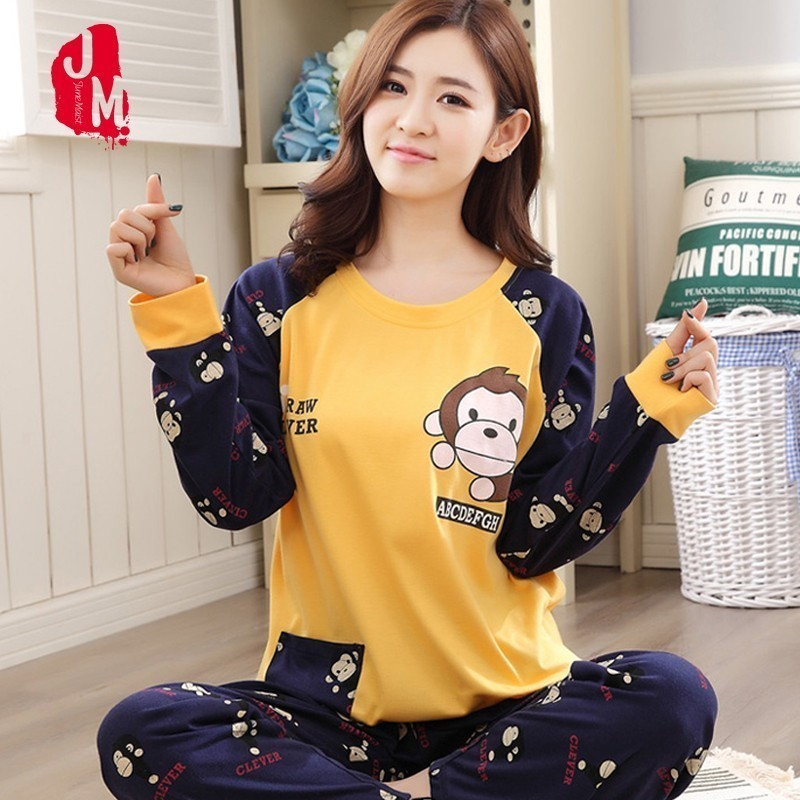 Women Plus Size M-5XL   Pajama     Set   Cotton Autumn Winter Long Sleeve Cartoon Monkey Animal Sleepwear Pyjamas Nightwear Home Clothes