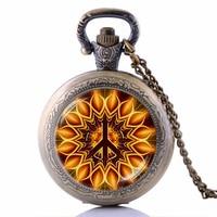 Bronze Pocket Watch Necklace Clock Jewelry Peace Sign Bijoux Hippie Gift Black Enamel Watch