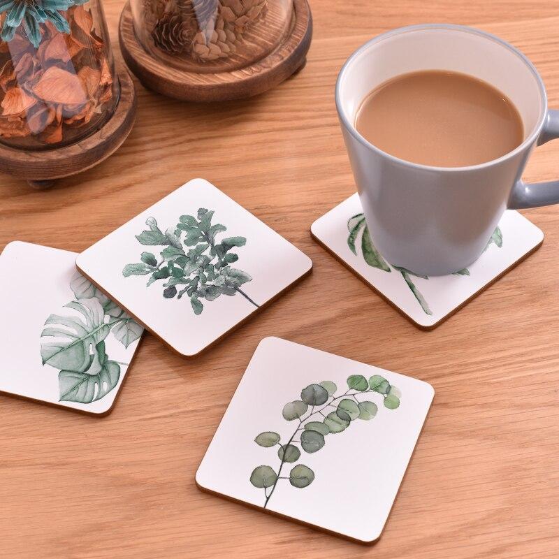 100 pièces CFen A's plante impression bois caboteur tasse Pad antidérapant chauffé tapis café thé boisson sous verres marque Mat peint à la main - 2