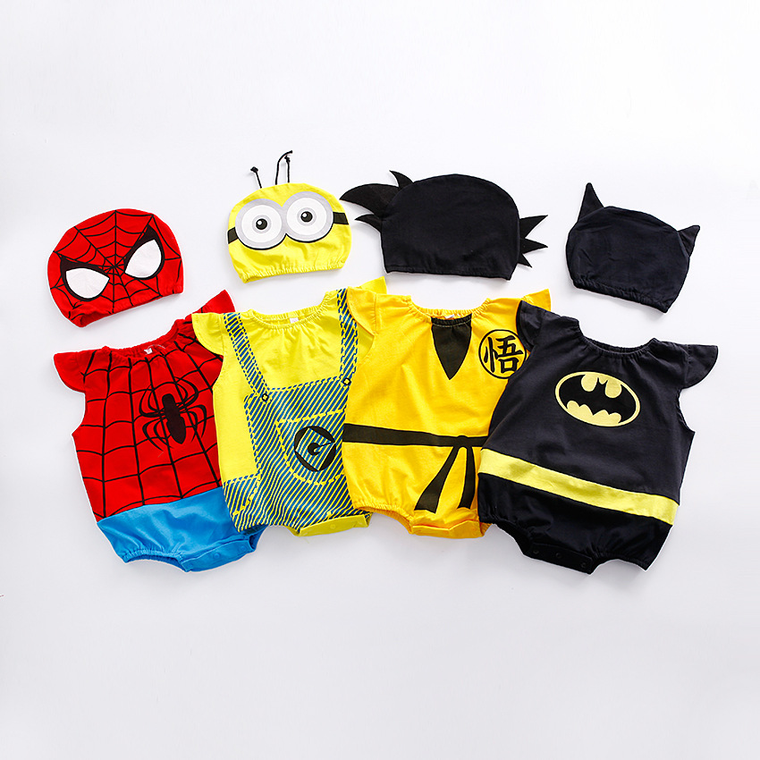 1pc romper 1pc Hat Newborn Baby Cotton rompers suits baby boys clothing Dragon Ball Spiderman Hero outifts Summer jumpsuits ...