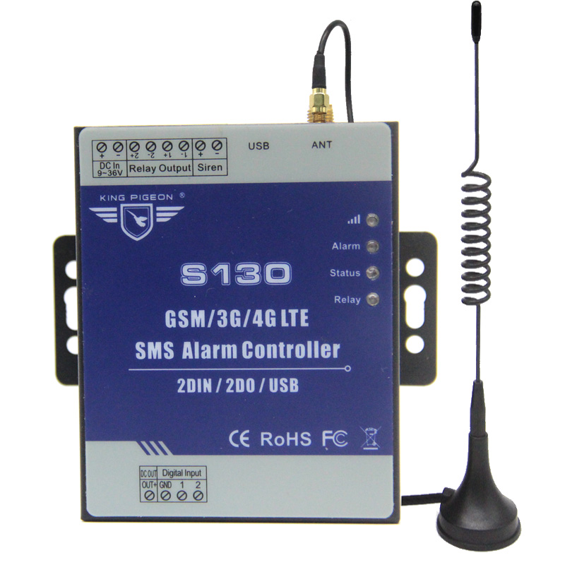 gsm 3g 4g rtu sms remote controller alarm system 2 din 2 do iot controller for automation monitoring system s130 S130 GSM 3G 4G SMS Remote Controller Alarm System 2 DIN 2 DOUT RTU Controller For Automation Monitoring System