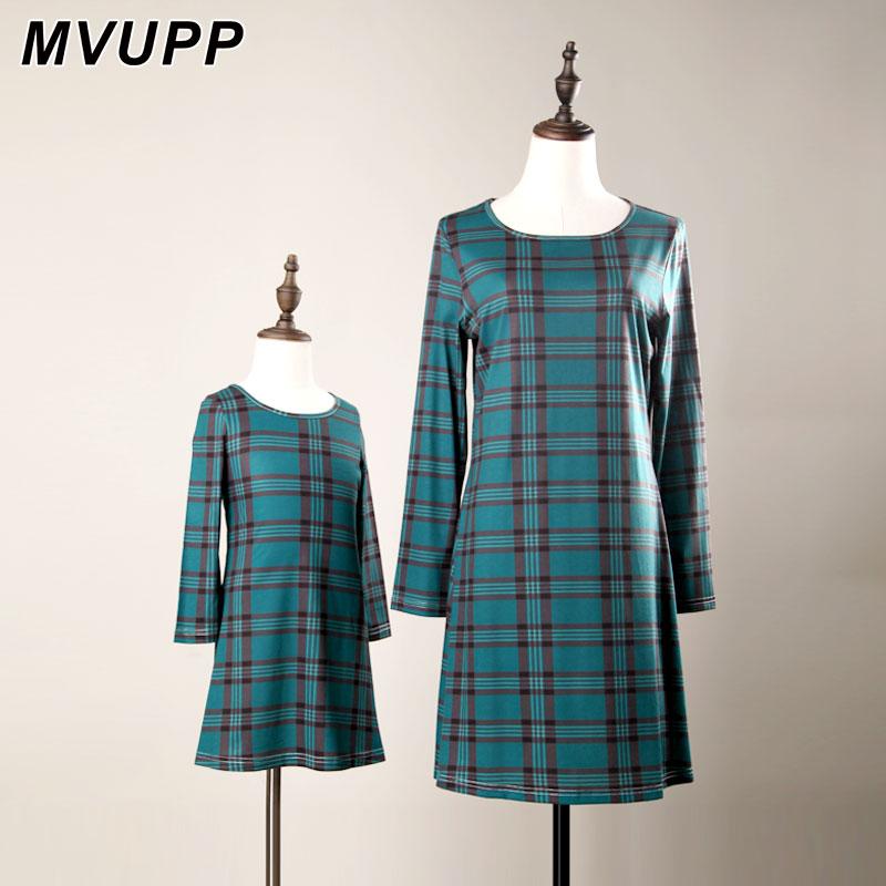 Mvupp Mutter Tochter Kleider Kleidung Rot Blau Farbe Plaid Kleid Familie Passenden Outfits Weihnachten Mama Und Mich Volle Hülse In