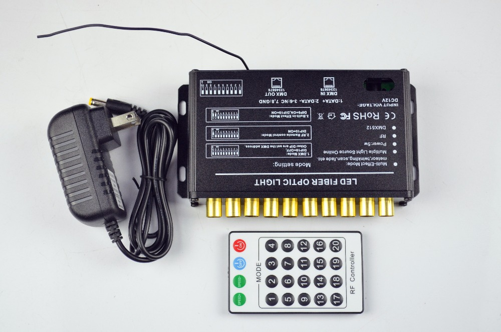 DMX512 10 Holes LED fiber optical light engine,AC86-265V input;10 channels(RGB);with 24key RF remote 1x high quality 45w rgb color led optical fiber light engine with 4 key rf remote controller express free shipping
