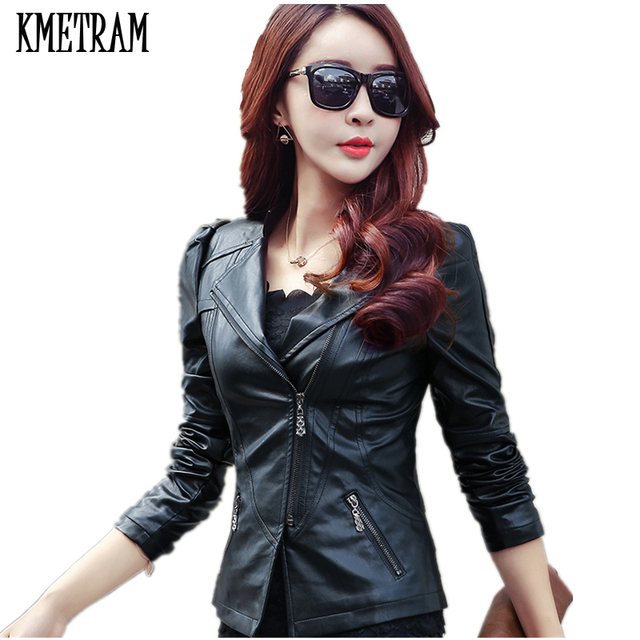 b94407b67a2c4 2018 New Fashion Spring Women Pink Black Blue Faux Leather Jackets Lady  Bomber Motorcycle Cool Outerwear Plus Size Coat YJZ007