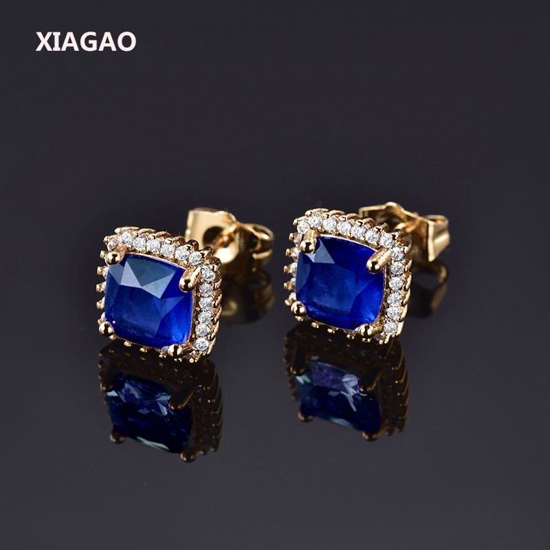 XIAGAO Clear Emerald Earrings For Women Green Stud Earring  24K Yellow Gold Plated AAA Cubic Zirconia Stud Earrings for Women